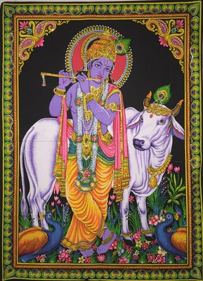 Lord Krishna Red Color Tapestry Poster