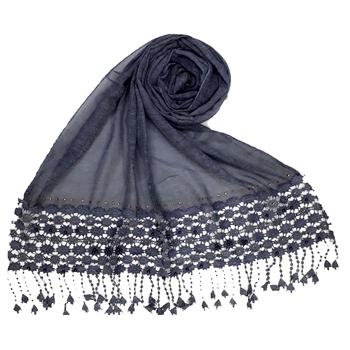 Blue Premium Cotton Fabric embroidered hijab