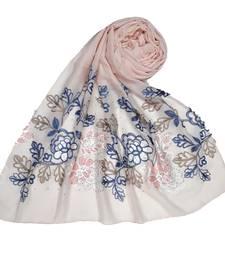 Pink  Premium Cotton Fabric embroidered hijab