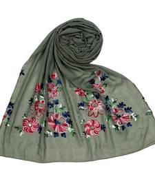 Green  Premium Cotton Fabric embroidered hijab