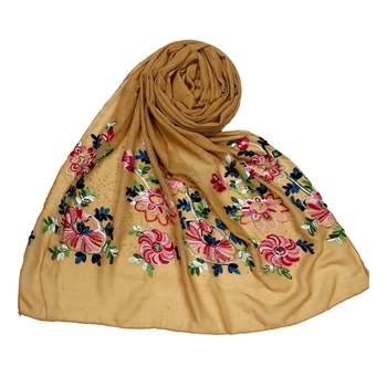 Yellow  Premium Cotton Fabric embroidered hijab