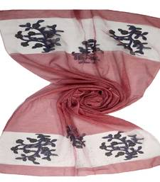 Maroon  Premium Tissue Fabric embroidered hijab