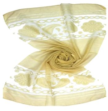 Yellow  Premium Tissue Fabric embroidered hijab