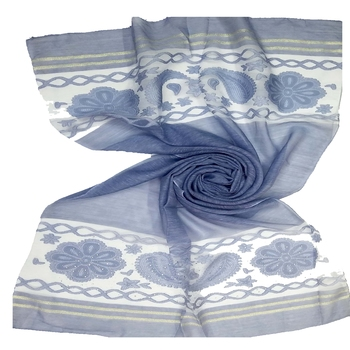 Blue  Premium Tissue Fabric Embroidered Hijab