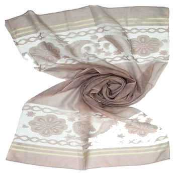Brown  Premium Tissue Fabric embroidered hijab