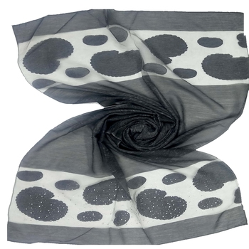 Black  Premium Tissue Fabric embroidered hijab