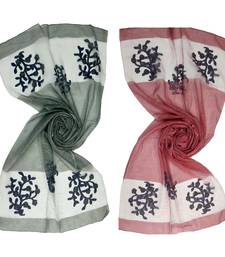 multicolor tissue embroidered hijab combo (pack of 2)