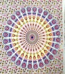 Pink Color Peacock Mandala Tapestry Poster