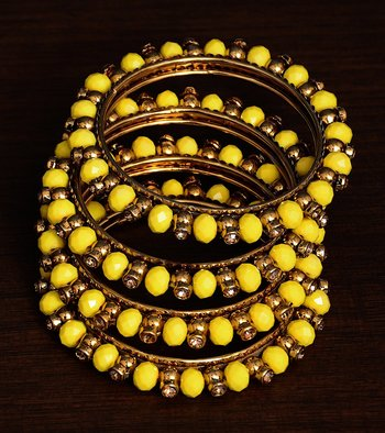 Light Yellow Beaded and Zircon Stone Embellished Two Pairs of Designer Bangles for Women