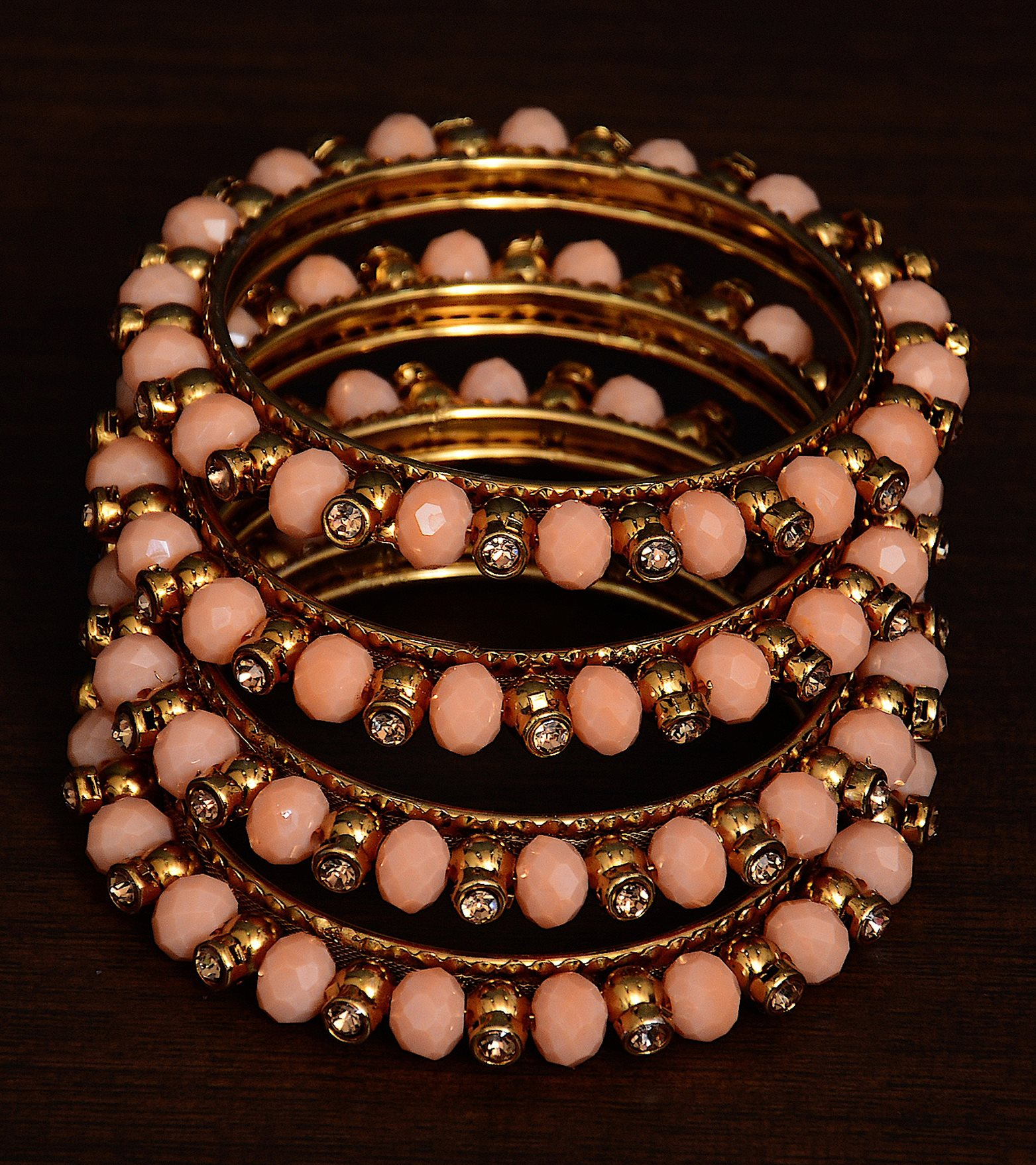 9blings Ethnic Beads Red Gold Plated 4pc Plastic Bangles Womens//Girls