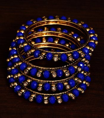 Navy Blue Beaded and Zircon Stone Embellished Two Pairs of Designer Bangles for Women