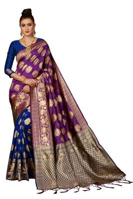 Purple and blue woven banarasi silk saree with blouse