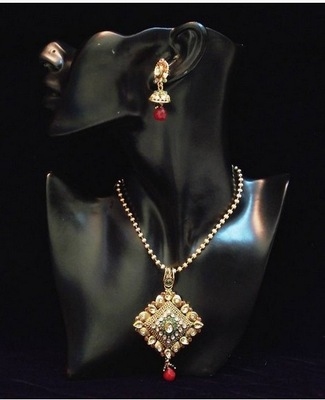 Antique n traditional golden Green n red stones pendent set