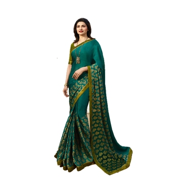 Sea green printed silk saree with blouse