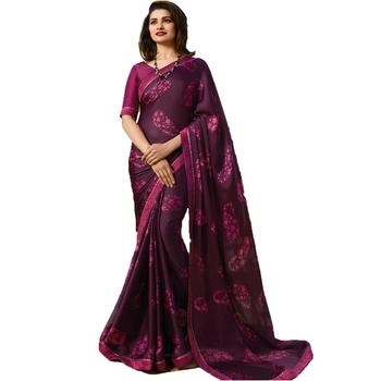 Purple printed silk saree with blouse