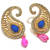 Golden  Pink and Blue pearl drop tops earring