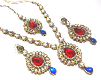 Red And Blue kundan necklace set