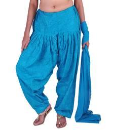 Buy Turquoise Cotton Jacquard Patiala & Chiffon Dupatta Set salwars-and-churidar online
