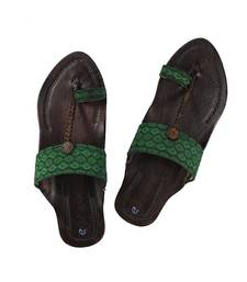 Awesome and attractive looking Green Broad Fabric embellished ladies Kolhapuri chappal footwear