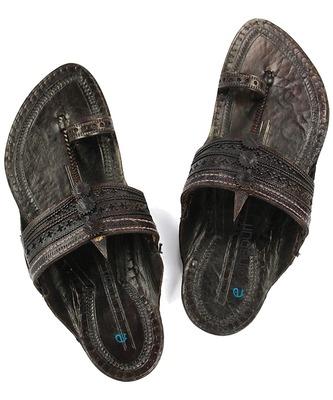 f0c039c6ea19e Handmade authentic genuine leather gorgeous dark brown kapshi kolhapuri  chappal for men