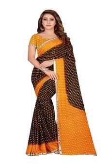 54e6ffede Multicolor printed faux georgette saree with blouse