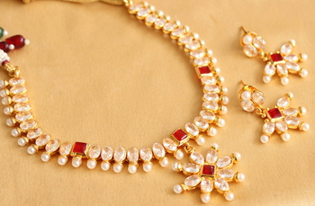 Beautiful Gold Plated Polki Red Necklace Set