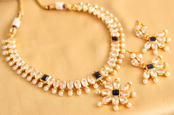Beautiful Gold Plated Polki Blue Necklace Set