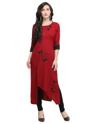 Red printed viscose rayon kurti