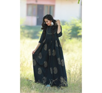 BLACK printed COTTON long kurti