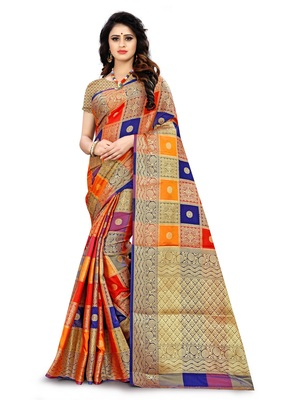 multicolor self design patola silk saree with blouse