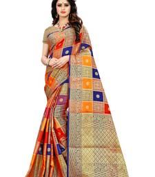 Multicolor self design patola silk saree with blouse