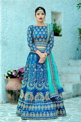Harbour Blue Embroidered Silk Semi Stitched Lehenga Choli With Dupatta