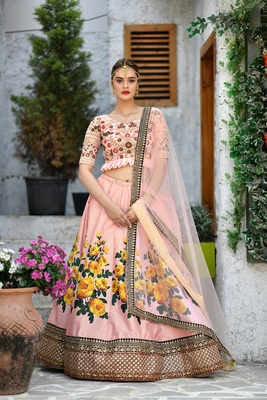 Peach Embroidered Silk Unstitched Lehenga With Dupatta