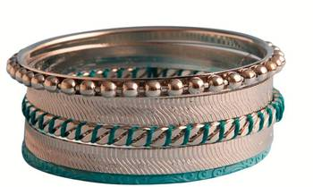 Blue string in silver and steel - set of bangles