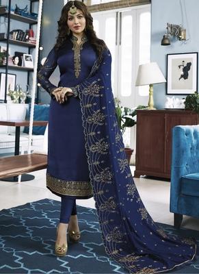 Royal-blue embroidered georgette salwar with dupatta