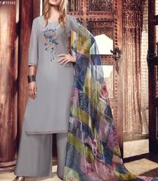 Buy Grey embroidered satin salwar with dupatta palazzo online