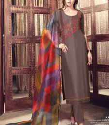 Buy Brown embroidered satin salwar with dupatta palazzo online