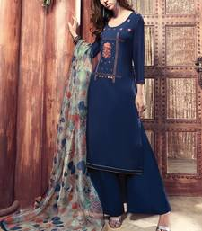 Buy Royal-blue embroidered satin salwar with dupatta palazzo online