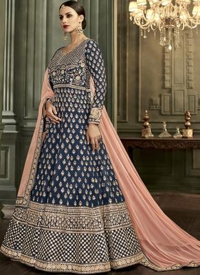 Royal-blue embroidered silk salwar with dupatta