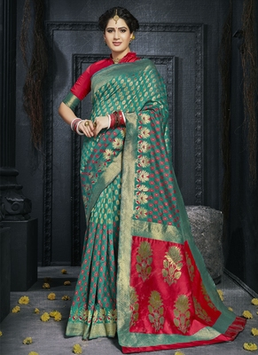 Teal woven art silk blend saree with blouse