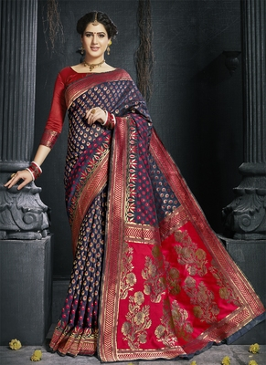 Navy blue woven art silk blend saree with blouse