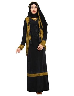 Women'S Mehendi Color Lycra Abaya Burkha With Jacket And Chiffon Dupatta