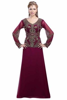 Wine Georgette Embroidered Zari Work Islamic Kaftans