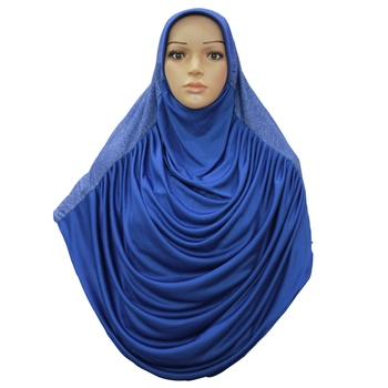 blue crepe islamic hijab