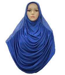 blue crepe islamic hijab