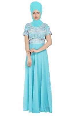 Sky Blue Georgette Embroidered Zari Work Islamic Kaftans