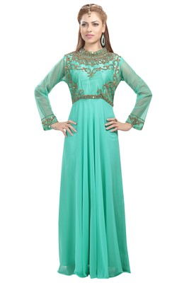 Light Green Georgette Embroidered Zari Work Islamic Kaftans