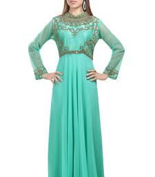 light green georgette embroidered zari work islamic kaftans