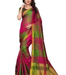 Multicolor printed cotton silk saree with blouse cotton-silk-saree