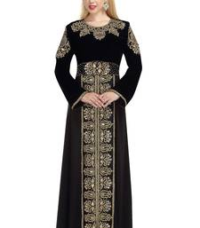 black velvet embroidered zari work islamic kaftans